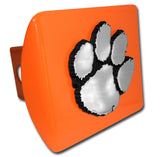 Clemson Tigers Chrome Metal Orange Hitch Cover (Paw) NCAA