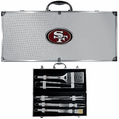 San Francisco 49ers 8 Piece Deluxe Stainless Steel BBQ Set with Case (NFL)