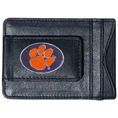Clemson Tigers Fine Leather Money Clip (NCAA) Card & Cash Holder