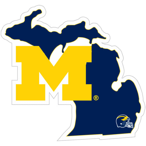 Michigan Wolverines Home State Vinyl Auto Decal (NCAA) Michigan Shape