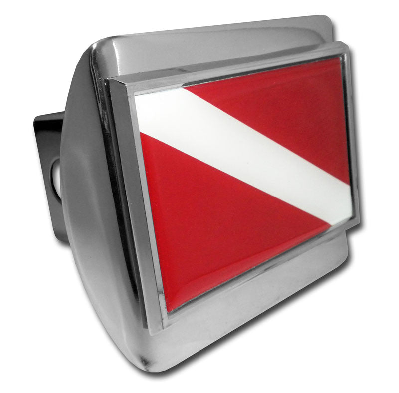 Dive Flag Shiny Chrome Metal Hitch Cover