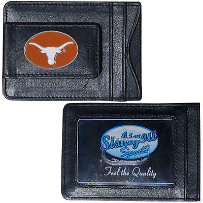 Texas Longhorns Fine Leather Money Clip (NCAA) Card & Cash Holder