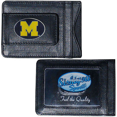 Michigan Wolverines Fine Leather Money Clip (NCAA) Card & Cash Holder