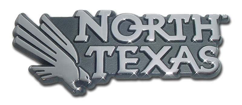 North Texas Mean Green Chrome Metal Auto Emblem (Eagle w/ Wordmark) NCAA