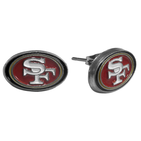 "San Francisco 49ers Stud Earrings (""SF"") NFL Jewelry"