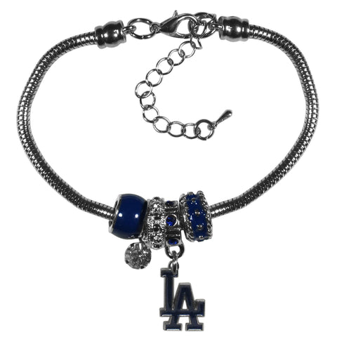 Los Angeles Dodgers Snake Chain Bracelet with Euro Beads MLB Jewelry