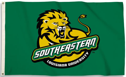 Southeastern Louisiana Lions 3' x 5' Flag (Logo on Green) NCAA