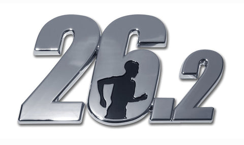 26.2 Male Runner 3-D Chrome Auto Emblem (Full Marathon)