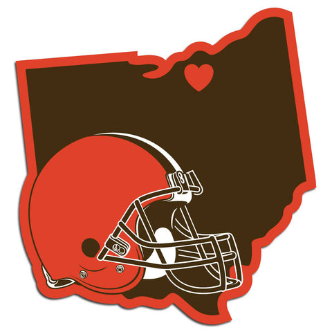 Cleveland Browns Home State Vinyl Auto Decal (NFL) Ohio Shape