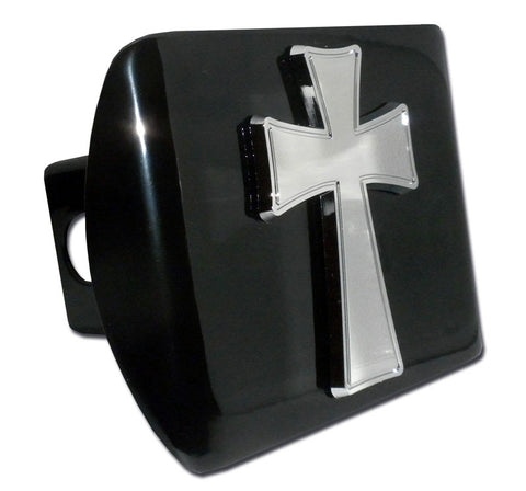 Cross Chrome Metal Black Hitch Cover (Tapered)