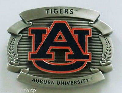 "Auburn Tigers Over-sized 4"" Pewter Metal Belt Buckle (NCAA)"