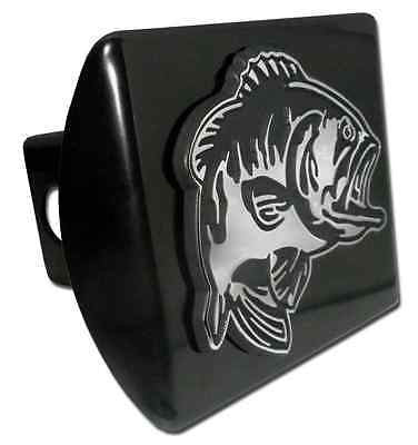 Bass Fish Chrome Metal Black Hitch Cover