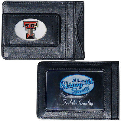 Texas Tech Red Raiders Fine Leather Money Clip (NCAA) Card & Cash Holder (Oval Emblem)