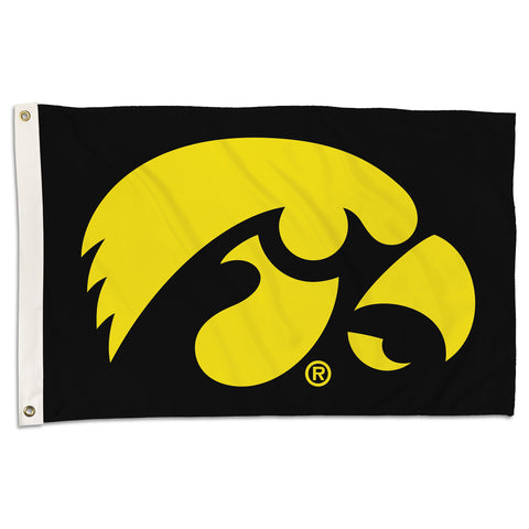 Iowa Hawkeyes 2' x 3' Flag (Logo on Black) NCAA