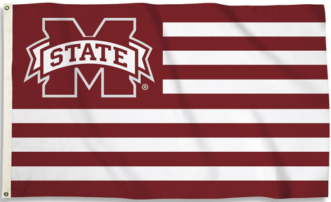Mississippi State Bulldogs 3' x 5' Flag (Stripes w/ M State) NCAA
