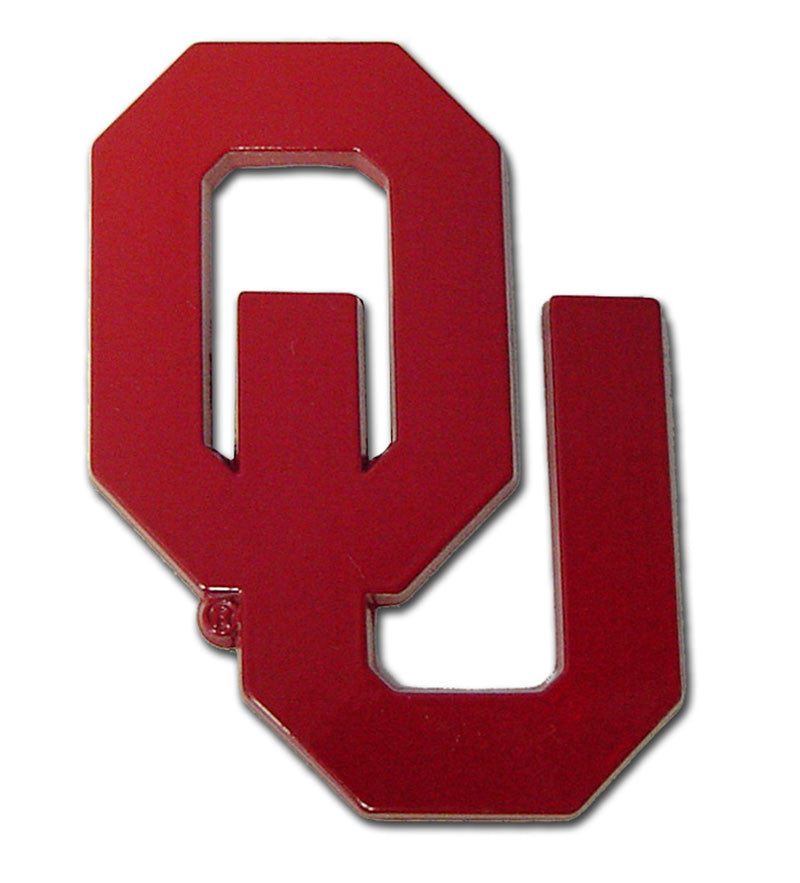 "Oklahoma Sooners Chrome Metal Auto Emblem (Crimson ""OU"") NCAA"