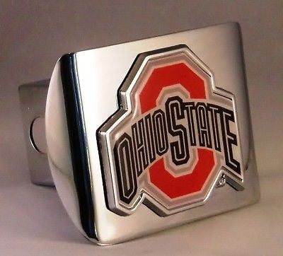 Ohio State Buckeyes Shiny Chrome Metal Hitch Cover (With Color) NCAA