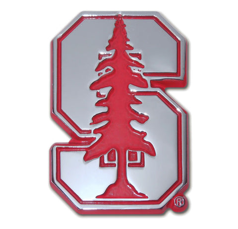 "Stanford Cardinal Chrome Metal Auto Emblem (Red ""S"") NCAA"