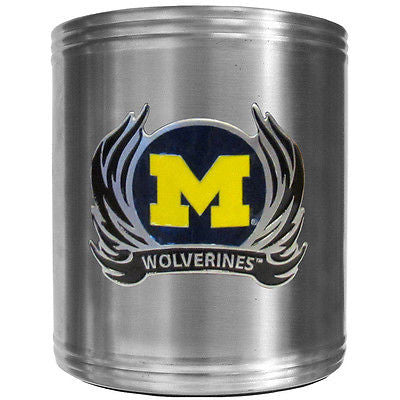 Michigan Wolverines Insulated Stainless Steel Can Cooler Coozie (Flames) (NCAA)