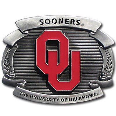 "Oklahoma Sooners Over-sized 4"" Pewter Metal Belt Buckle (NCAA)"