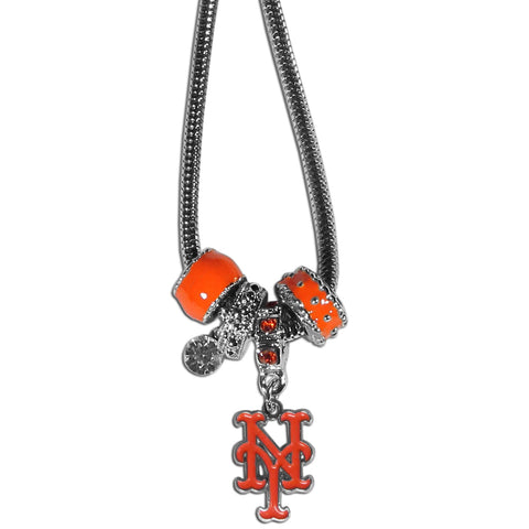 New York Mets Snake Chain Necklace with Euro Beads MLB Jewelry