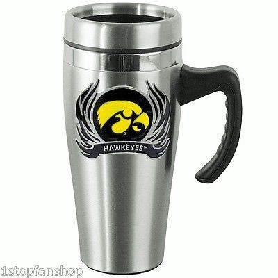Iowa Hawkeyes 14 oz Stainless Steel Travel Mug with Handle & Flames (NCAA)