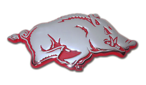 Arkansas Razorbacks Chrome Metal Auto Emblem (Running Hog w/ Red) NCAA