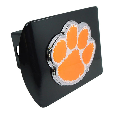 Clemson Tigers Chrome Metal Black Hitch Cover (Paw w/ Color) NCAA