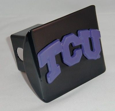 "TCU Horned Frogs Chrome Metal Black Hitch Cover (Purple ""TCU"") NCAA"