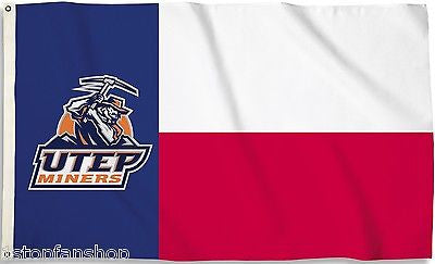 Texas El Paso UTEP Miners 3' x 5' Flag (State Of Texas) NCAA