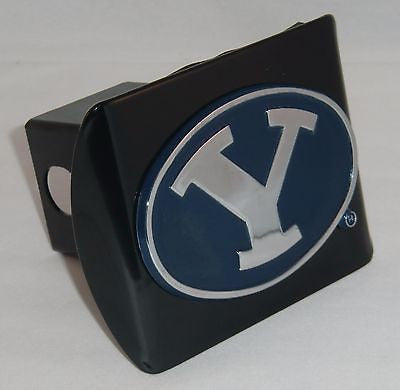 "BYU Cougars Chrome Metal Black Hitch Cover (Blue ""Y"") NCAA"