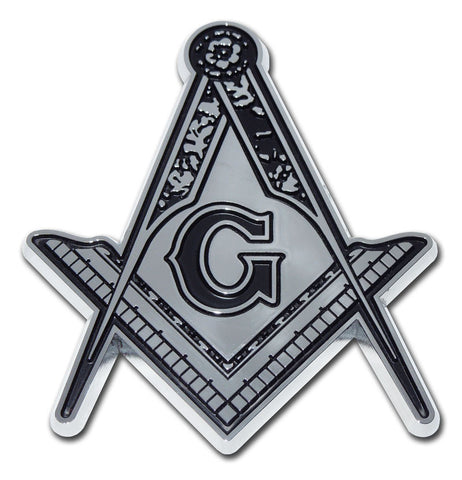 Masonic Chrome Auto Emblem (Square Compass With Detail)
