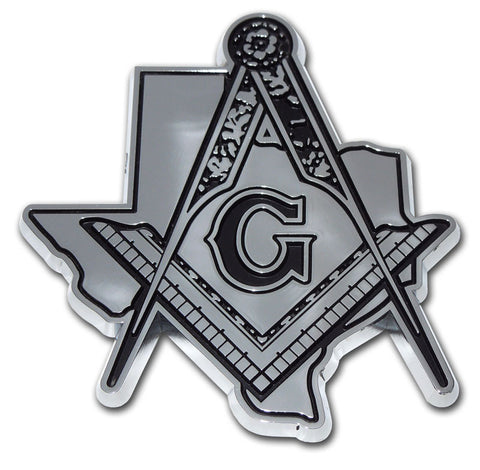 Masonic Chrome Auto Emblem (Texas Shape With Detail)