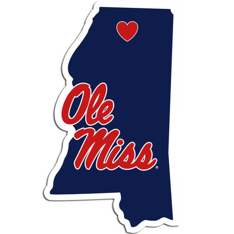 Ole Miss Rebels Home State Vinyl Auto Decal (NCAA) Mississippi Shape