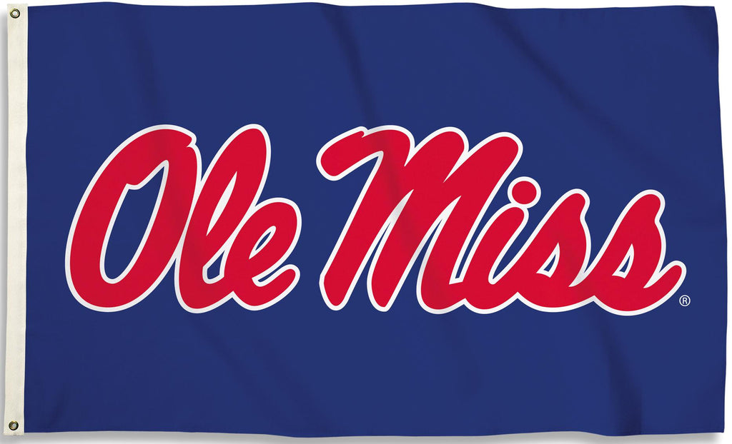 Ole Miss Rebels 3' x 5' Flag (Script Logo Only on Blue) NCAA