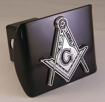 Masonic Chrome Metal Black Hitch Cover (Square Compass w/ Detail)