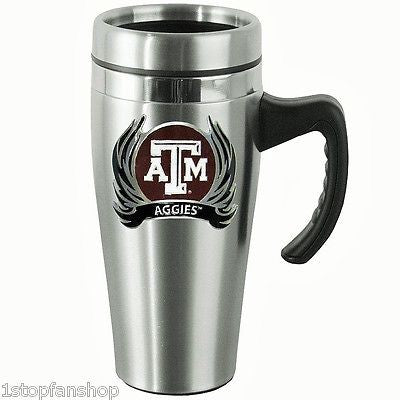 Texas A&M Aggies 14 oz Stainless Steel Travel Mug with Handle & Flames (NCAA)