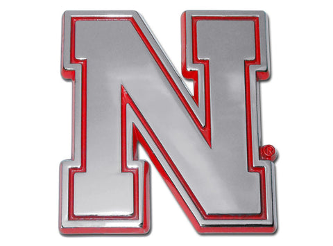 "Nebraska Cornhuskers Chrome Metal Auto Emblem (Red Outlined ""N"") NCAA"