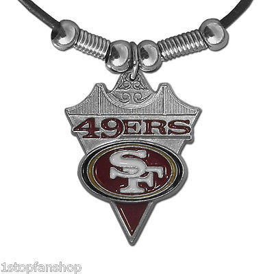 San Francisco 49ers Leather Cord Necklace with Metal Logo Pendant - NFL