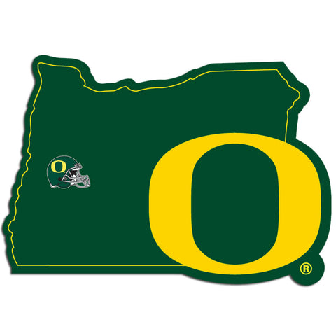 Oregon Ducks Home State Vinyl Auto Decal (NCAA) Oregon Shape w/Helmet