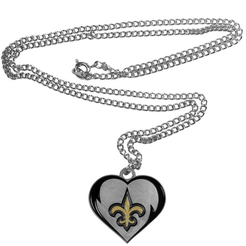"New Orleans Saints 22"" Chain Necklace with Metal Heart Logo Charm (NFL)"