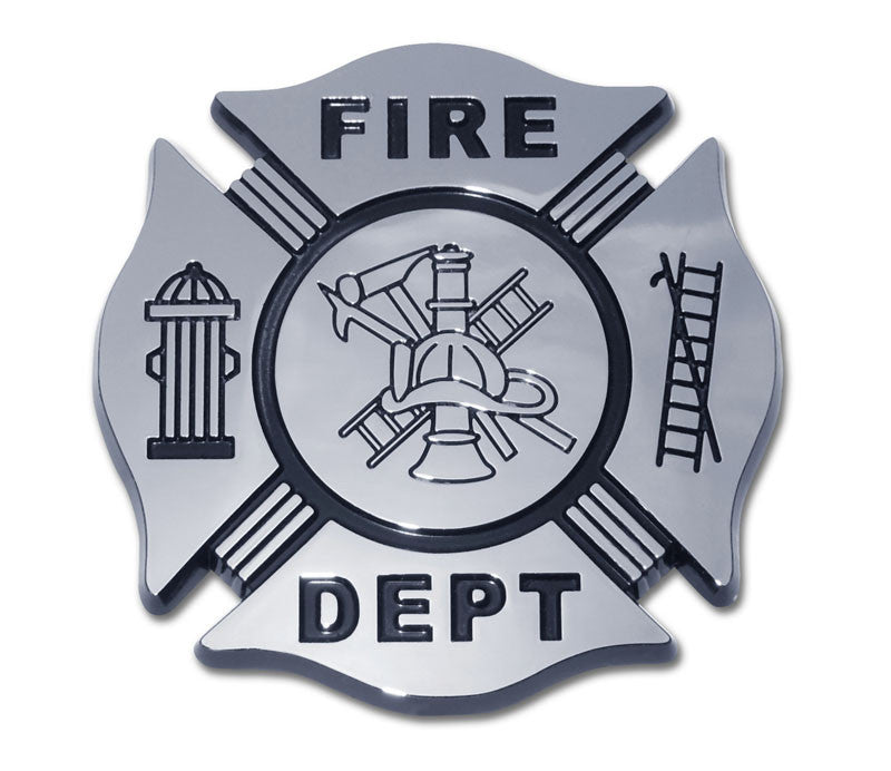 Firefighter Chrome Auto Emblem (Black & Chrome) Occupational