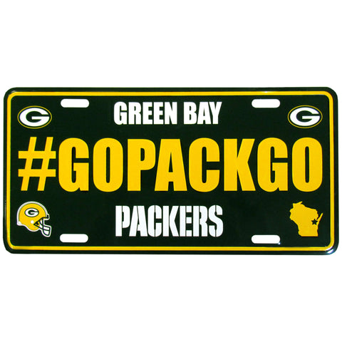 Green Bay Packers Stamped Aluminum License Plate #GOPACKGO (NFL)