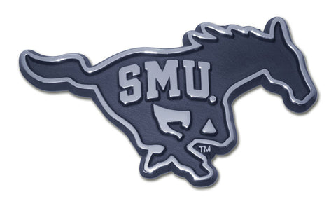 "SMU Mustangs Chrome Metal Auto (Mustang with ""SMU"") NCAA"