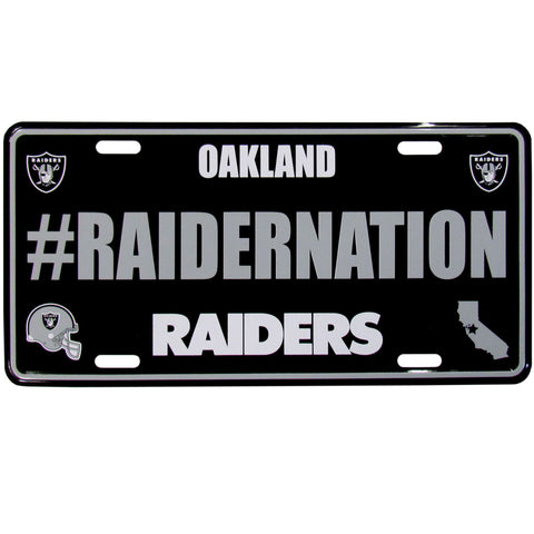 Oakland Raiders Stamped Aluminum License Plate #RAIDERNATION (NFL)