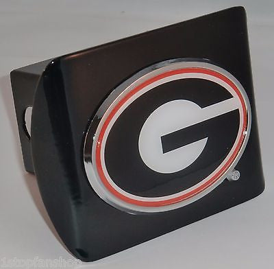 "Georgia Bulldogs Chrome Metal Black Hitch Cover (""G"" w/ Color) NCAA"