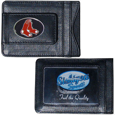 Boston Red Sox Fine Leather Money Clip (MLB) Card & Cash Holder