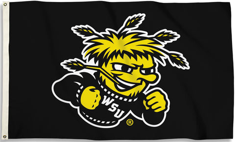 Wichita State Shockers 3' x 5' Flag (Logo Only on Black) NCAA