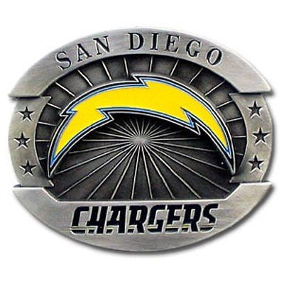 "San Diego Chargers Over-sized 4"" Pewter Metal Belt Buckle (NFL)"
