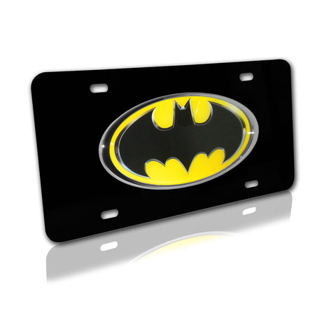 Batman (Black and Yellow) on Black Metal License Plate (DC Comics)